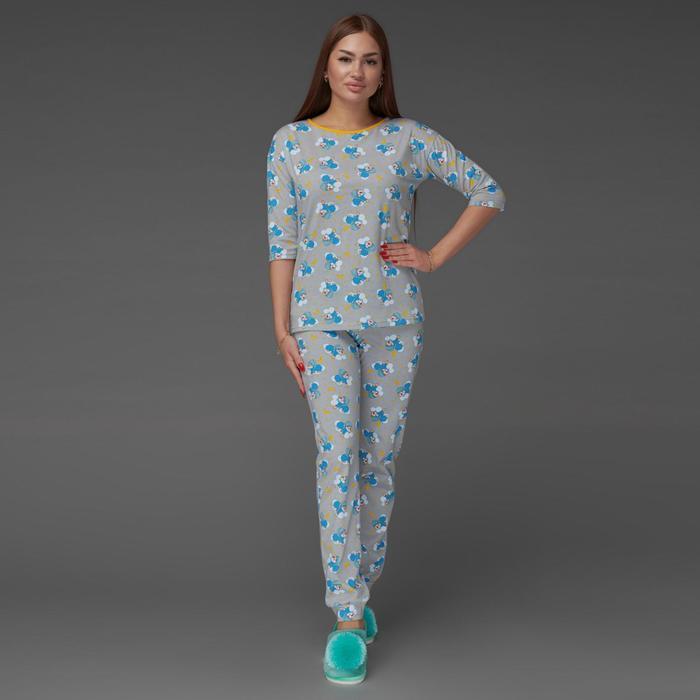 Пижама женская (футболка, брюки), цвет серый, размер 46