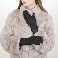 Перчатки жен, 23,5 см, безразмер, без утеплителя, манжет широкий иск кожа, черный