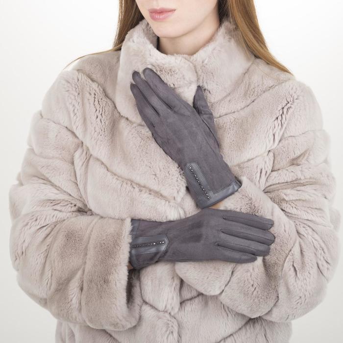 Перчатки жен, 23,5 см, безразмер, без утеплителя, манжет стразы, серый