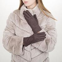 Перчатки жен, 23,5 см, утеплитель иск мех, классика, коричневый