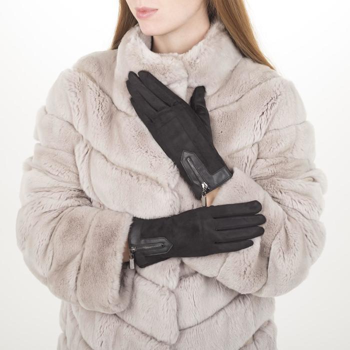 Перчатки жен, 23,5 см, утеплитель иск мех, манжет молния, черный