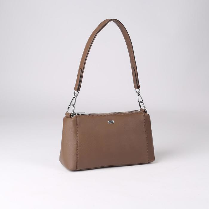 Сумка жен L-20102, 26*8*16, 3 отд на молнии, н/карман, коричневый