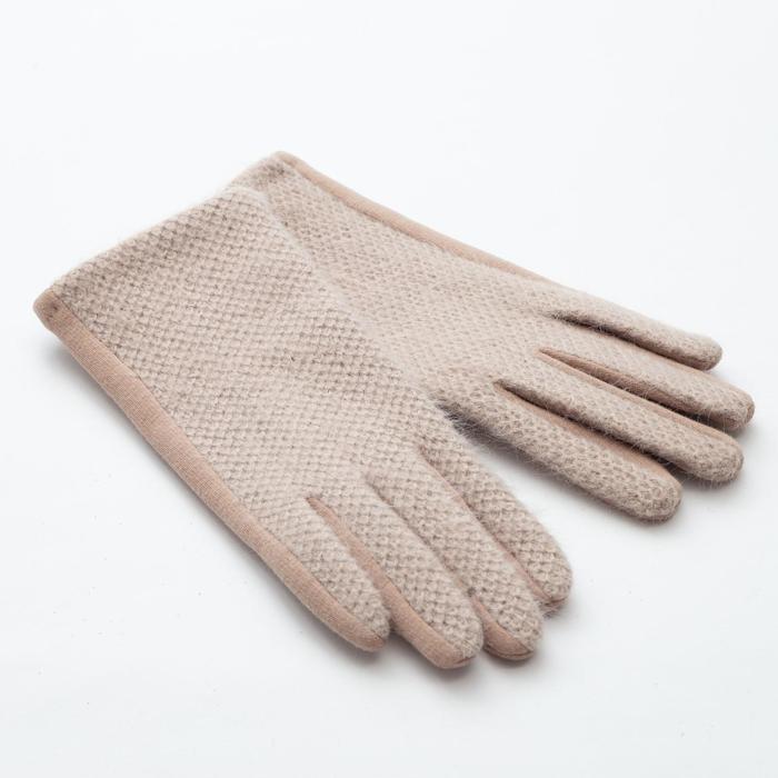 "Перчатки женские MINAKU ""Леди"", размер 6,5, цвет бежевый"