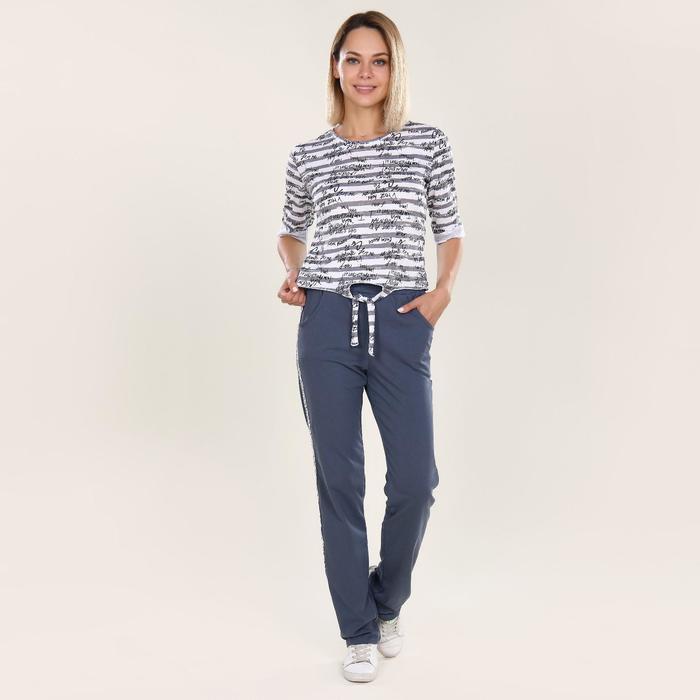 Костюм женский (футболка, брюки) Fashion sports, цвет серый, размер 52