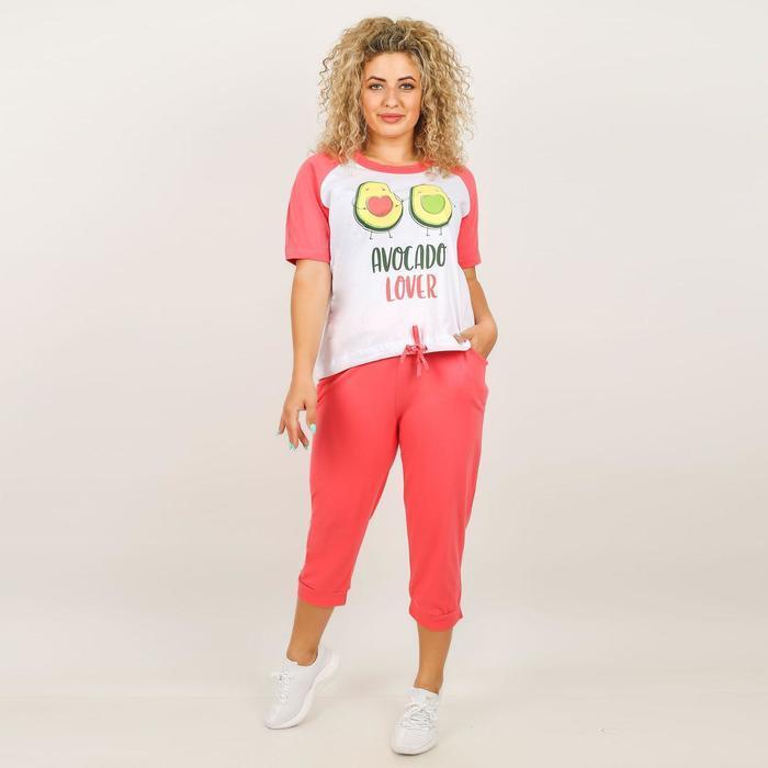 Комплект женский (футболка, бриджи), цвет микс, размер 52