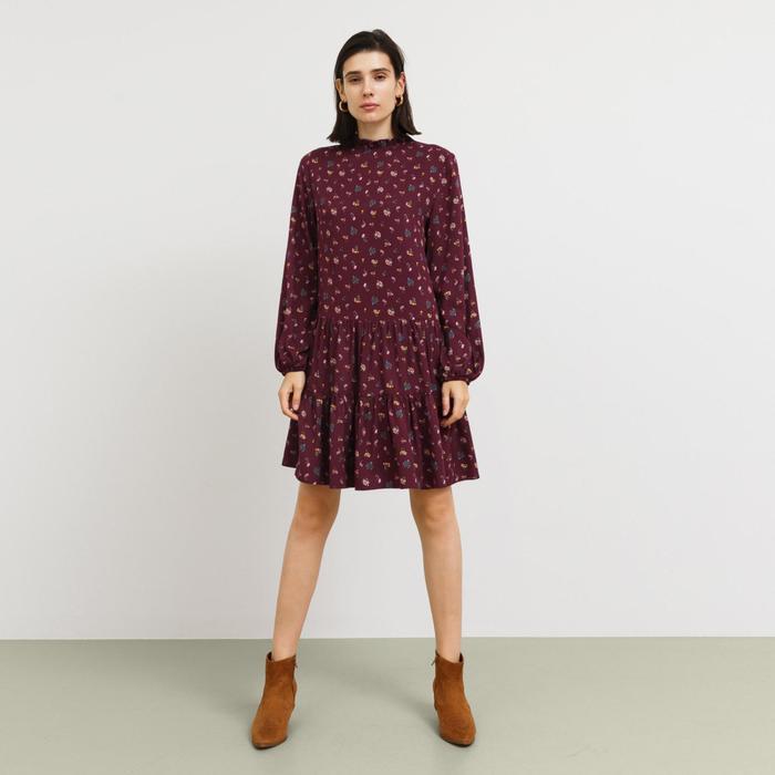 Платье женское, цвет бордовый/цветы, рост 170 см, размер 44 (S)