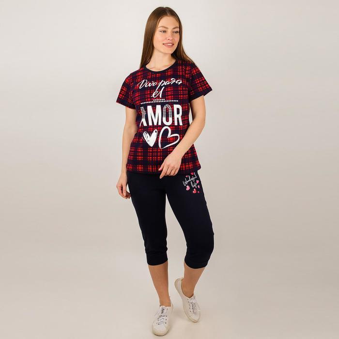 Комплект женский (футболка, бриджи), цвет красный, размер 52