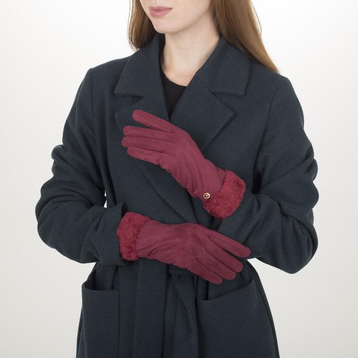 Перчатки жен, 23,5 см, безразмер, утепленные, манжет широкий мех, красный