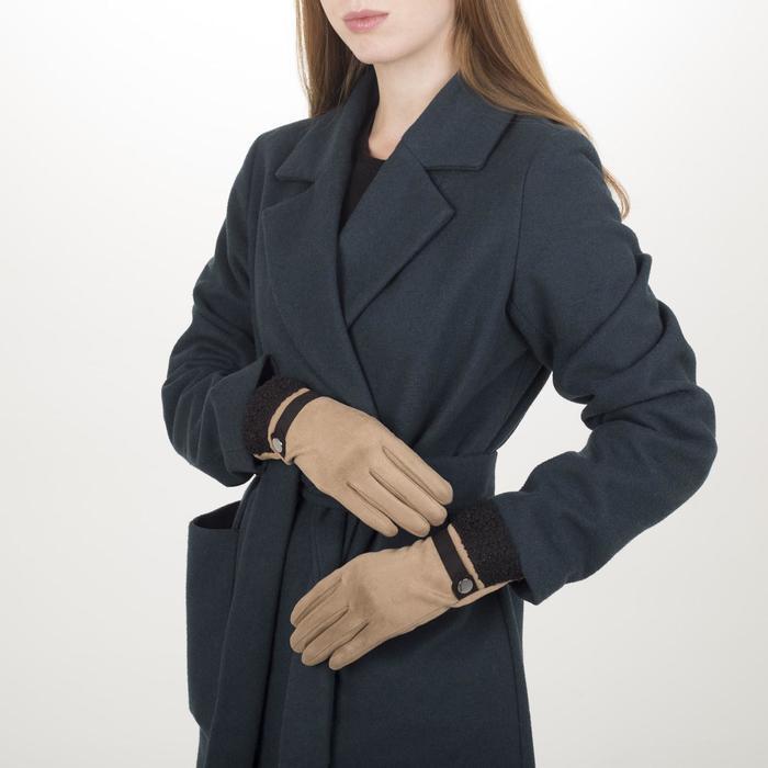 Перчатки жен, 23,5 см, безразмер, без утеплителя, манжет мех, бежевый