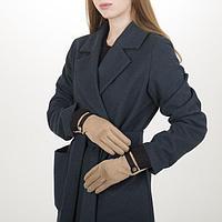 Перчатки жен, 23,5 см, безразмер, без утеплителя, манжет мех, бежевый, фото 1