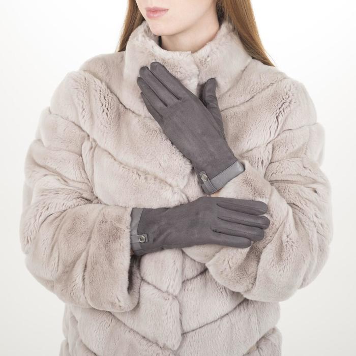 Перчатки жен, 23,5 см, утеплитель иск мех, манжет кожа, серый