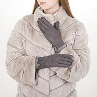 Перчатки жен, 23,5 см, утеплитель иск мех, манжет кожа, серый, фото 1