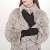 Перчатки жен, 23,5 см, безразмер, без утеплителя, манжет большая пуговица, черный