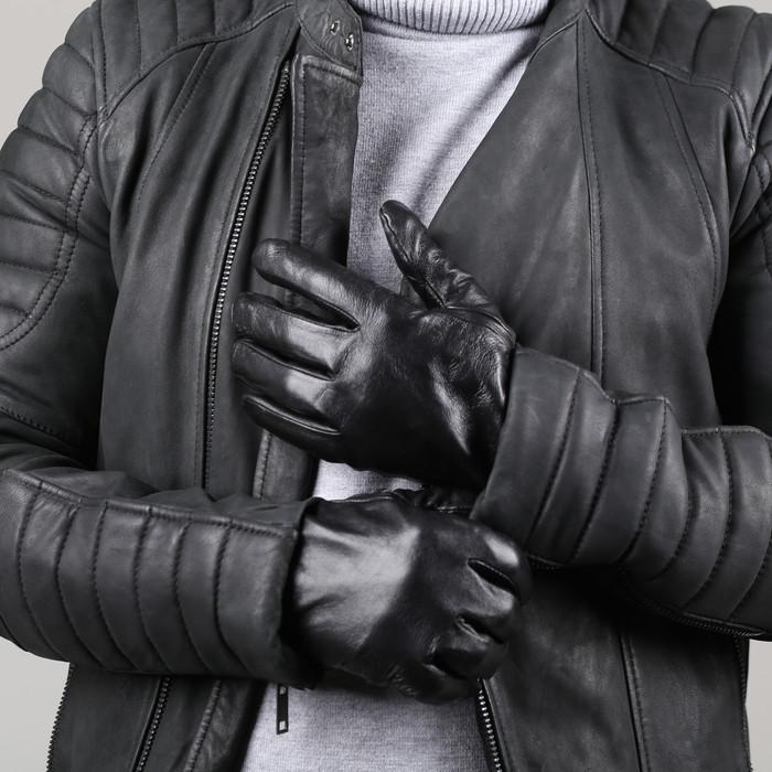 Перчатки мужские, размер 11,5, длина 24 см, подклад шерсть, цвет чёрный