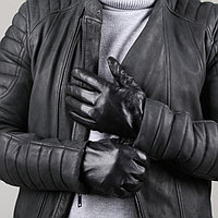 Перчатки мужские, размер 11,5, длина 24 см, подклад шерсть, цвет чёрный, фото 1