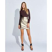 """Юбка женская MINAKU """"Leather look"""", длина мини, размер 42, цвет золото, фото 1"""