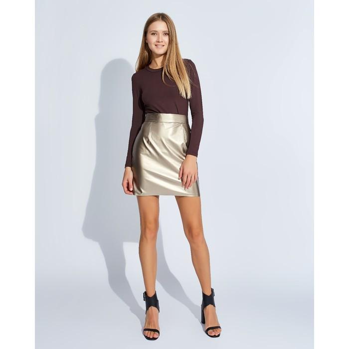 "Юбка женская MINAKU ""Leather look"", длина мини, размер 42, цвет золото"