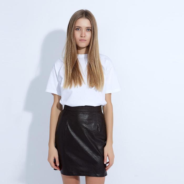 """Юбка женская MINAKU """"Leather look"""", длина мини, размер 44, цвет коричневый"""