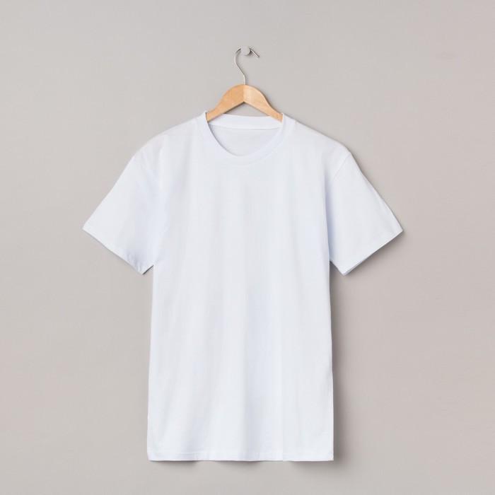 Футболка мужская однотонная, цвет белый, размер 50
