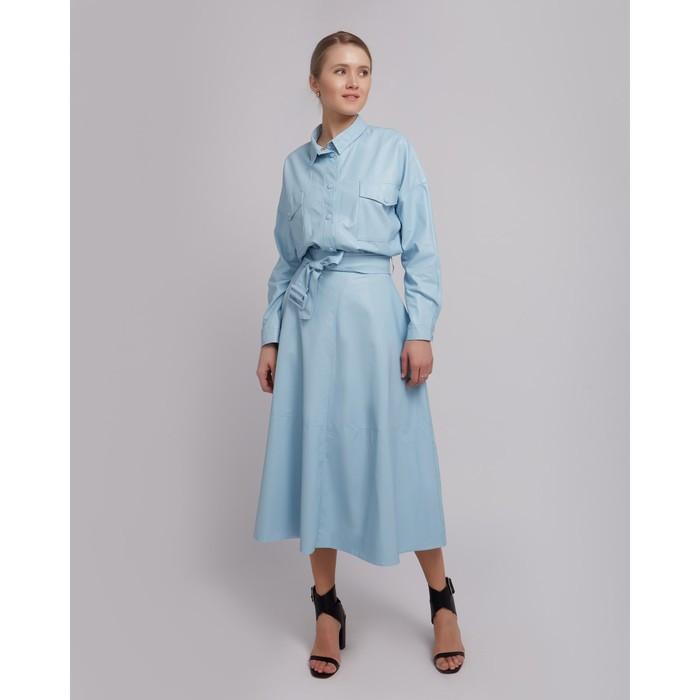 Юбка женская MINAKU: Leather look, цвет голубой, размер 42