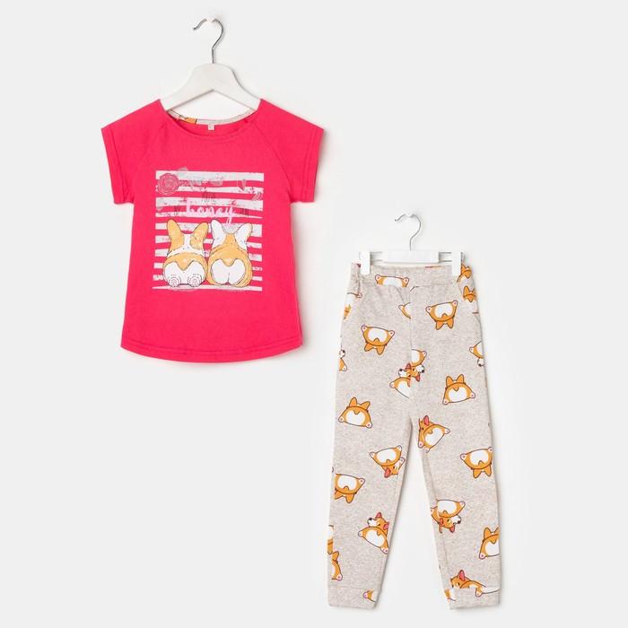 Пижама для девочки (футболка, брюки), цвет розовый/серый, рост 128 см