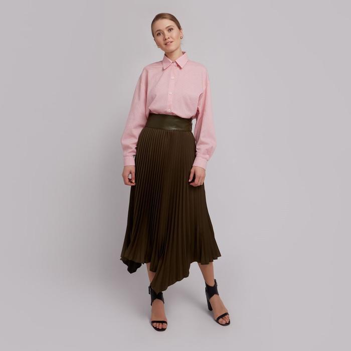 Юбка женская гофре MINAKU: Leather look, цвет оливковый, размер 44