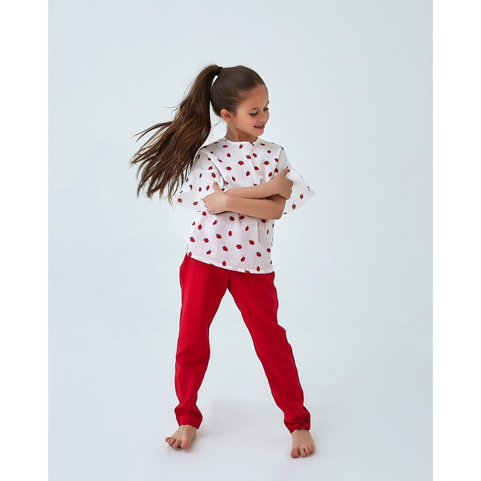 Брюки для девочки MINAKU: cotton collection romantic, цвет красный, рост 128 см