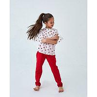 Брюки для девочки MINAKU: cotton collection romantic, цвет красный, рост 128 см, фото 1