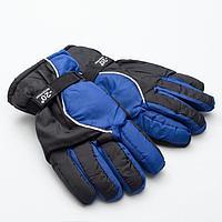 Перчатки зимние мужские MINAKU, цв.черный/синий, р-р 9 (27*13 см)