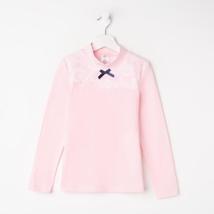 Водолазка для девочки, цвет розовый, рост 128 см