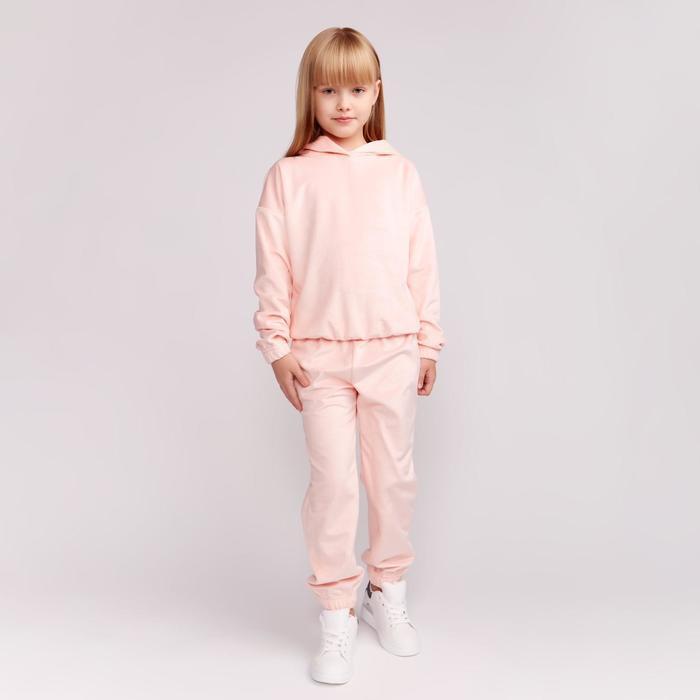 Костюм для девочки (худи, брюки) MINAKU цвет персиковый, рост 128