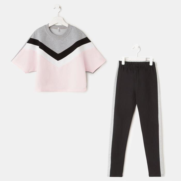 Комплект для девочки, цвет серый/розовый, рост 140