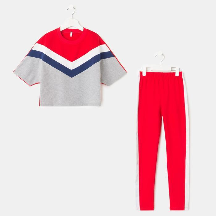 Комплект для девочки, цвет серый/красный, рост 128