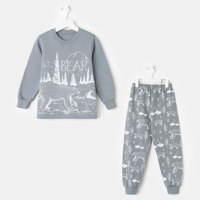 Пижама для мальчика, цвет серый, рост 110 см