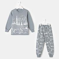 Пижама для мальчика, цвет серый, рост 110 см, фото 1