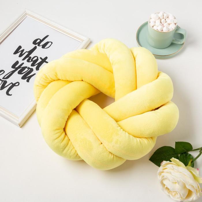 Подушка-узел «Этель», d=33см, цвет жёлтый, велюр - фото 1