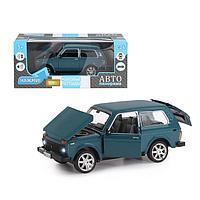 Машина металлическая «ВАЗ 21214» 1:22, инерция, цвет синий, открываются двери, капот и багажник, фото 1
