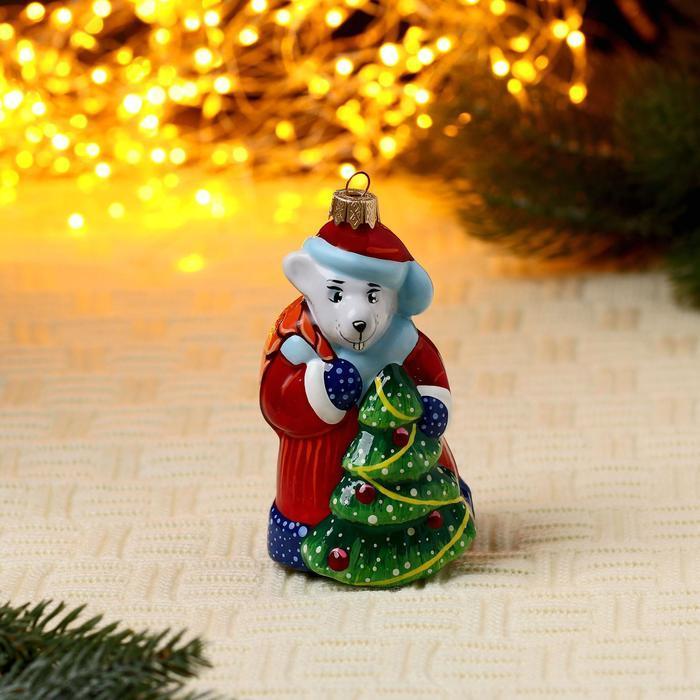 Формовая игрушка Крыса -Дед  Мороз с ёлкой (10 см)