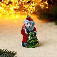 Формовая игрушка Крыса -Дед  Мороз с ёлкой (10 см), фото 1