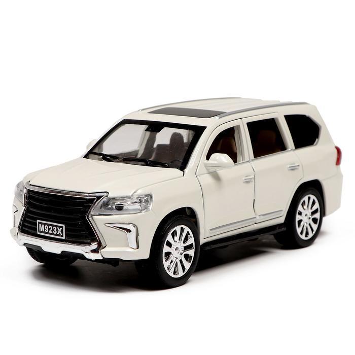 Машина металлическая «Джип», открываются двери, капот, багажник, инерция, цвет белый