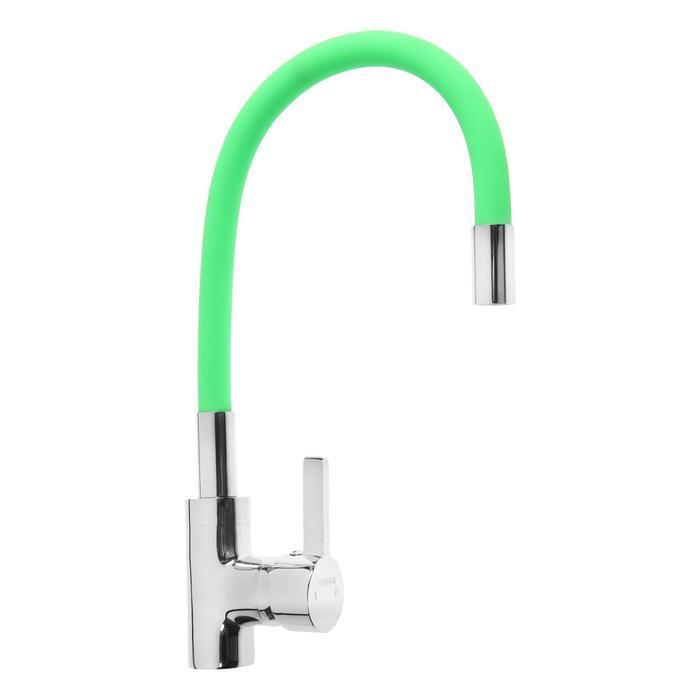 Смеситель для кухни Mira 5098-5, однорычажный, картридж 35 мм, гибкий излив, хром/зеленый