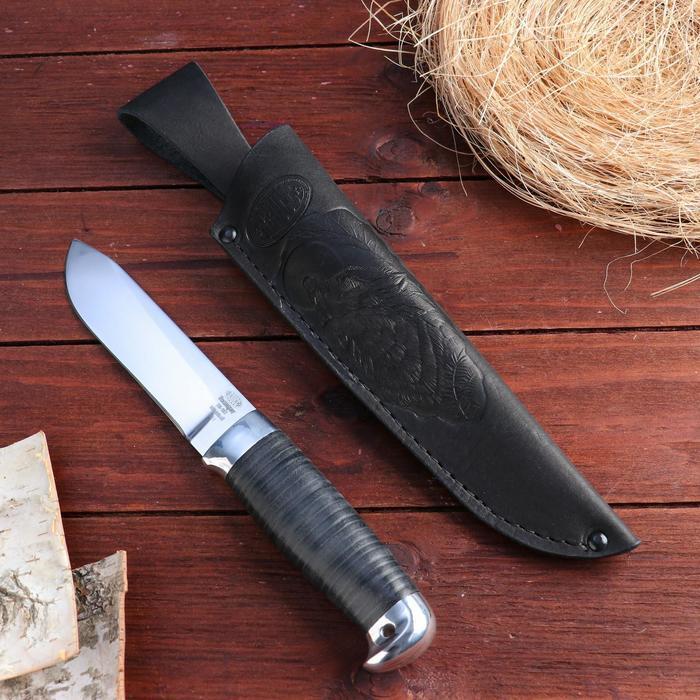 Нож охотничий «Следопыт» Н61, ст. ЭИ-107, рукоять дюраль, кожа, 25 см