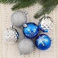 "Набор шаров пластик d-6 см, 12 шт ""Снежинки блестящие"" серебристо-синий"