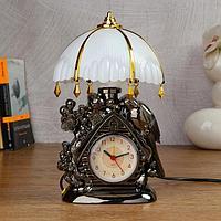 "Часы-светильник ""Домик""  с будильником,1 АА, дискретный ход, 12.5х5х25 см, фото 1"
