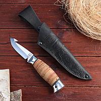 Нож охотничий «Рыбак» НР21, шкуросъемный ст. ЭИ107, рукоять дюраль, береста, 20 см, фото 1