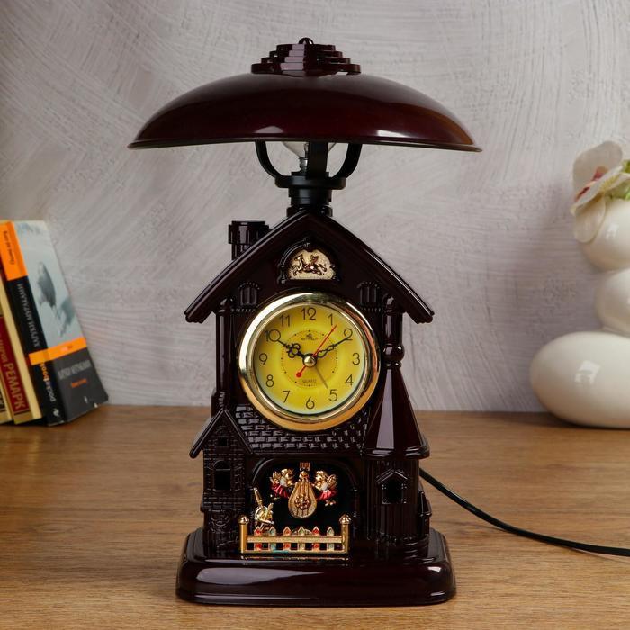 Часы-светильник с будильником,1 АА, дискретный ход, d=6 см