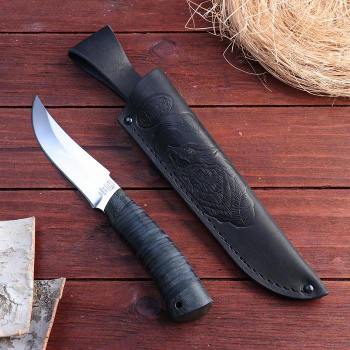 Нож охотничий Н27, ст. ЭИ107, рукоять текстолит, кожа, 25 см