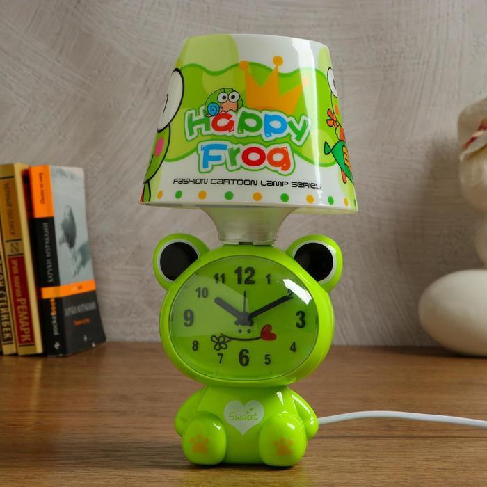 """Часы-светильник """"Весёлая лягушка"""", с будильником, 3 AA. от сети, дискретный ход"""
