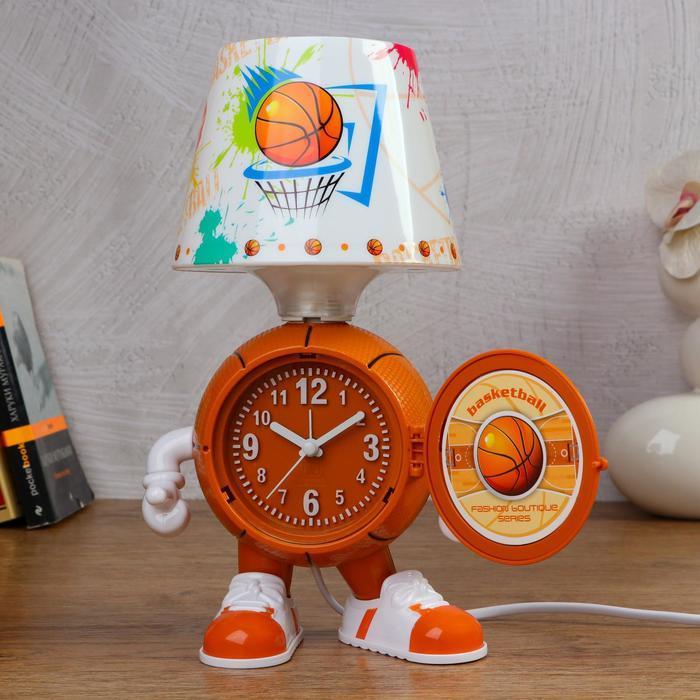 """Часы-светильник """"Баскетбол"""", с будильником, 3 AA. от сети. дискретный ход"""