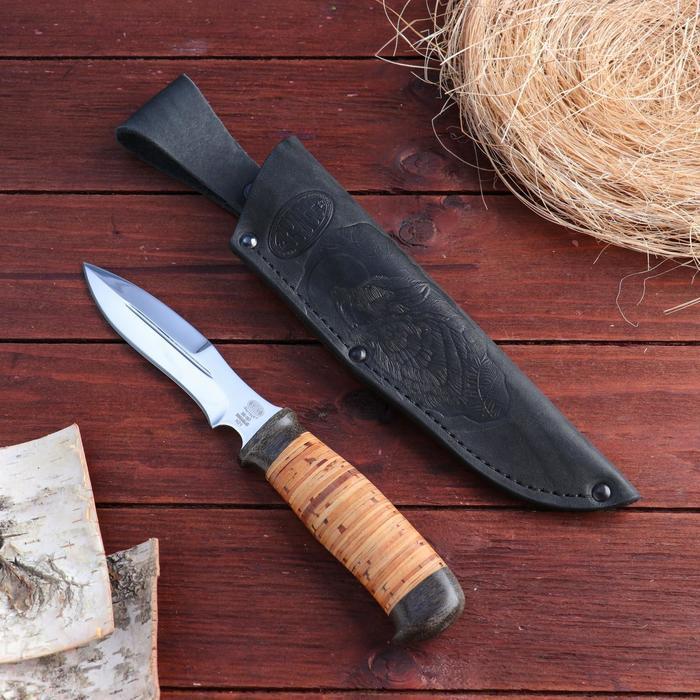 Нож охотничий Н21, ст. ЭИ107, рукоять текстолит, береста, 24,5 см